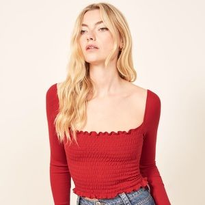 """Reformation Sable Top """"Cherry"""" Red XS"""